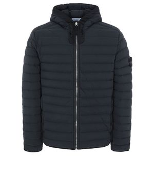 Stone Island 41125 Loom Woven Down Chambers Stretch Nylon-TC Hooded Down Blouson Navy Blue