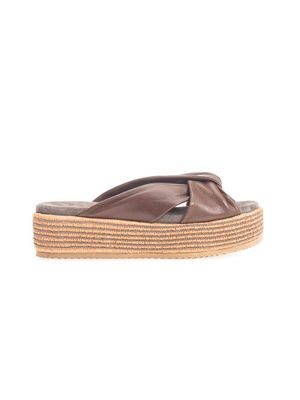 BRUNELLO CUCINELLI WOMEN'S MZOOG1777C6623 BROWN LEATHER SANDALS