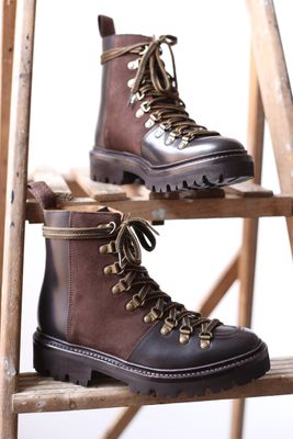 Nanette Dark Brown Leather & Suede Hiker Boots