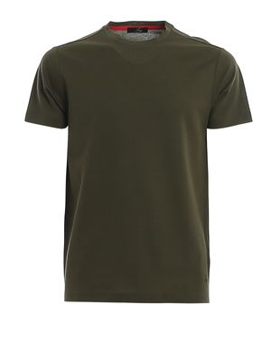 Green logo embroidery cotton T-shirt