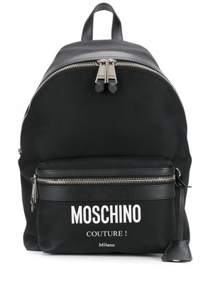 MOSCHINO MEN'S 76068201A2555 BLACK LEATHER BACKPACK