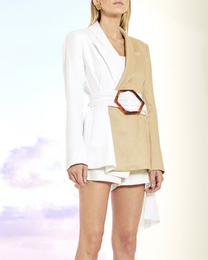 Two Tone Belted Blazer