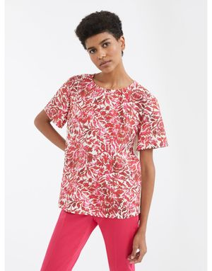 OUTLET Weekend by MaxMara Corfu Floral Print Cotton Top Colour: Pink,