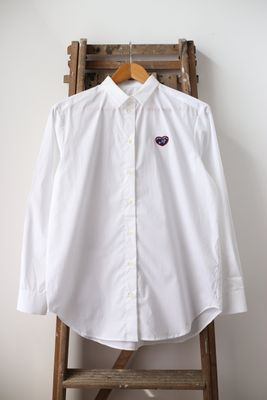 Heart Patch White Boyfriend Shirt