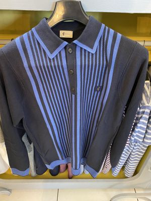 Strand Navy & Blue Striped Long-Sleeved Knitted Polo Shirt