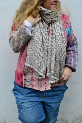 Dilli Grey Taupe chevron patterned cashmere scarf