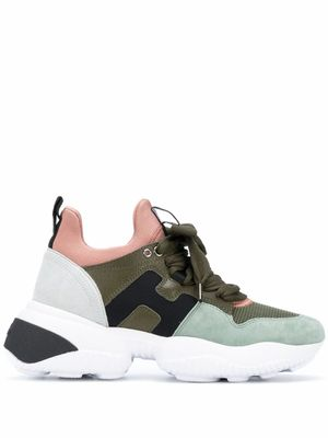 HOGAN WOMEN'S HXW5250CH20OBS0PSW GREEN LEATHER SNEAKERS