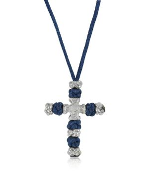 BE UNIQUE MEN'S CROSSNECKLACEBLUE WHITE/BLUE METAL NECKLACE