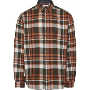 KnowledgeCotton Apparel Larch Casual Fit Checked Flannel Shirt Green - GOTS/Vegan