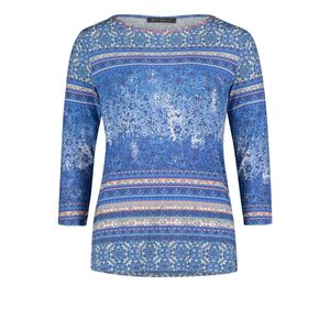 Blue Long Sleeve Patterned Top