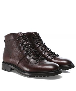 Loake Grain Leather Hiker Boots Colour: Red
