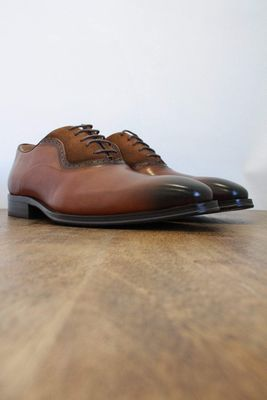 Genoa Tan Leather & Suede Oxford Shoes