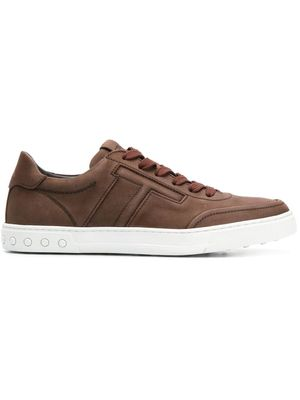 TOD'S MEN'S XXM0XY0AY40FL1S803 BROWN LEATHER SNEAKERS