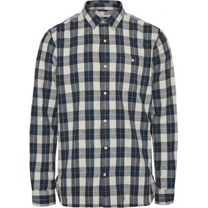 KnowledgeCotton Apparel Larch Casual Fit Checked Flannel Shirt Grey - GOTS/Vegan