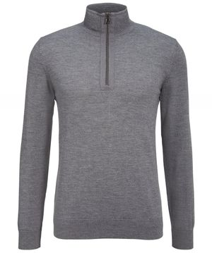 Bogner Merino Wool Blend Half-Zip Deano Jumper Colour: Grey