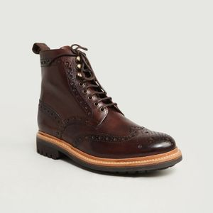 Fred Commando Boots Brown Handpainted Grenson