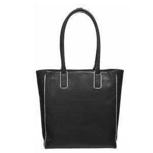 Brix + Bailey Black Piped Leather Day Tote Shopper Bag
