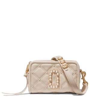 Marc Jacobs The Quilted Softshot 17 Leather Crossbody Bag Colour: Cream
