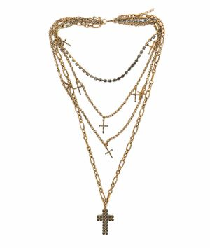 Necklace with crosses and pendant