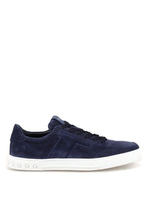 Blue suede sneakers with padded T <br>