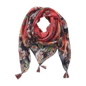 Red and Orange Floral Scarf