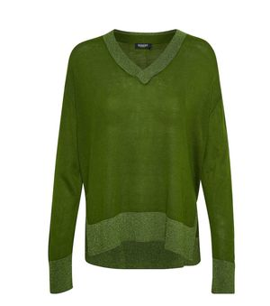 SOAKED IN LUXURY Silky v-neck pullover GREEN