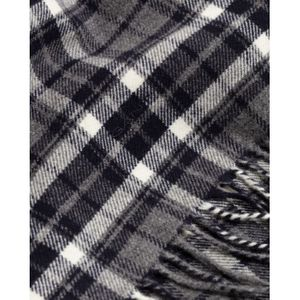 GANT - Charcoal Melange Checked Twill Wool Scarf 9920135