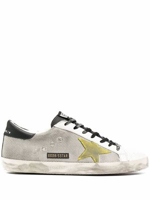 GOLDEN GOOSE MEN'S GMF00101F00034580305 SILVER LEATHER SNEAKERS