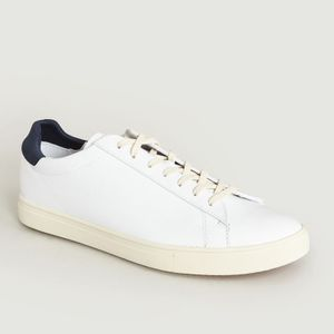 Bradley Trainers White Leather Navy Clae