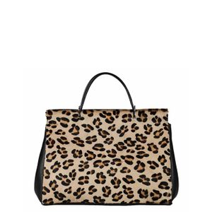 Brix + Bailey Leopard Print Hair On Hide Leather Shoulder Bag