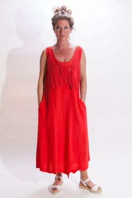 Crea Concept Knit Top Dress in Red