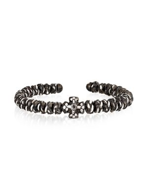 BE UNIQUE MEN'S ANTIKGLOSSY BLACK METAL BRACELET