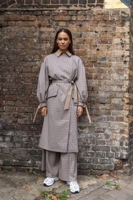 Puff Sleeve Check Trench Coat