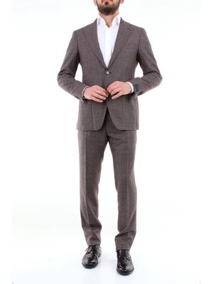 TAGLIATORE Complete Single-breasted suits Men Dark brown and white