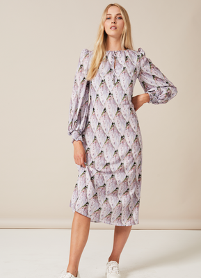 JOJO Midaxi tie neck puffed sleeve dress with shirred cuff in Tiled Protea Bud