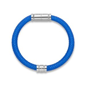 Blue Leather Bracelet with Stainless Steel Clasp
