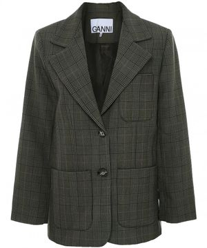Ganni Checked Suiting Blazer Colour: Green