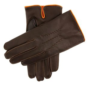 DENTS LEATHER GLOVE CONTRAST EDGING , Colour:BROWN