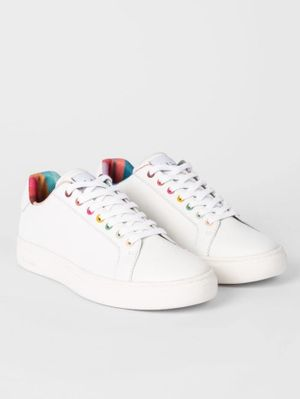 Paul Smith White Leather Lapin Trainers With Swirl Trims W1S-LAP42-ECAS-01