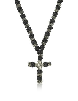 BE UNIQUE MEN'S CROSSNECKLACE100ANTIQUE BLACK METAL NECKLACE