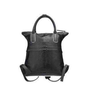 Unisex Backpack Bag Black Python Piped Print Leather