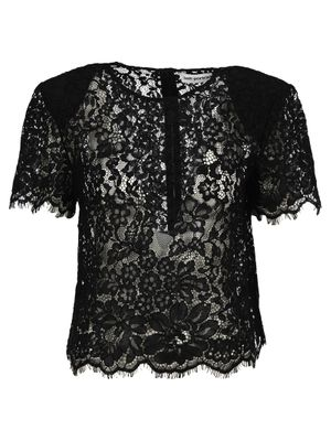 Black Cord Lace Sleeved Top