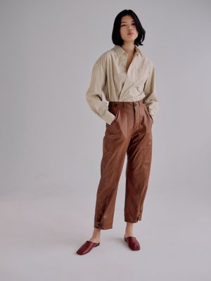 Faux Leather Workwear Trousers   Brown
