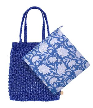 Dilli Grey x Bell & Fox champaca blue macrame shopper