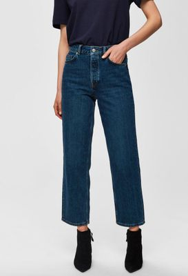 Selected Femme Kate straight inky blue jean