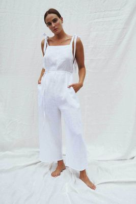 UNIK by Us Turner Cropped Linen Jumpsuit - White