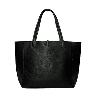 Brix + Bailey Everyday Soft Pebbled Leather Tote Bag Black