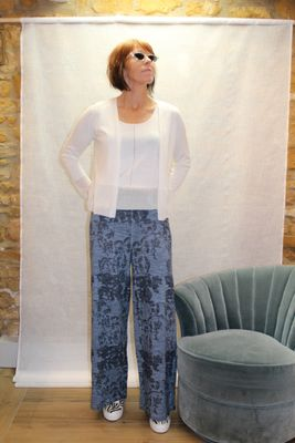 Dove Wide Knit Trousers