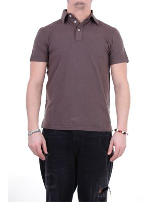 FEDELI MEN'S 3UEE0207MARRONE BROWN OTHER MATERIALS POLO SHIRT