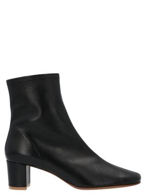 BY FAR WOMEN'S 1660305SBLKLBL BLACK LEATHER ANKLE BOOTS